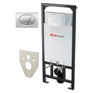 Система инсталляции 3 в 1 AlcaPlast Sadromodul A101/1200 кнопка смыва хром