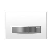 Смывная клавиша Geberit Sigma50, для двойного смыва - рамка-бел./кнопки-нерж.сталь